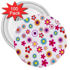 Colorful Floral Flowers Pattern 3  Buttons (100 Pack)  by Simbadda