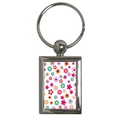 Colorful Floral Flowers Pattern Key Chains (rectangle)  by Simbadda