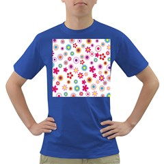 Colorful Floral Flowers Pattern Dark T Shirt