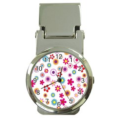 Colorful Floral Flowers Pattern Money Clip Watches by Simbadda