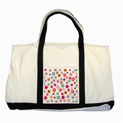 Colorful Floral Flowers Pattern Two Tone Tote Bag by Simbadda