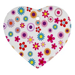 Colorful Floral Flowers Pattern Heart Ornament (two Sides)