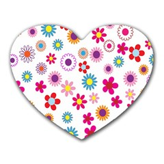 Colorful Floral Flowers Pattern Heart Mousepads by Simbadda