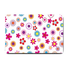 Colorful Floral Flowers Pattern Small Doormat  by Simbadda