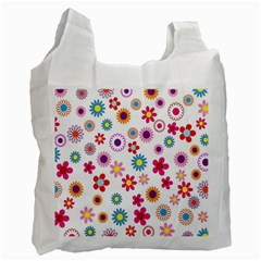 Colorful Floral Flowers Pattern Recycle Bag (one Side)