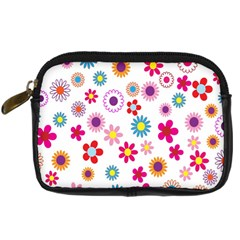 Colorful Floral Flowers Pattern Digital Camera Cases by Simbadda
