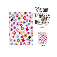 Colorful Floral Flowers Pattern Playing Cards 54 (mini)  by Simbadda
