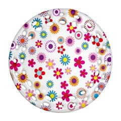 Colorful Floral Flowers Pattern Ornament (round Filigree)
