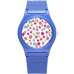 Colorful Floral Flowers Pattern Round Plastic Sport Watch (s) by Simbadda