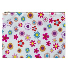 Colorful Floral Flowers Pattern Cosmetic Bag (xxl)  by Simbadda