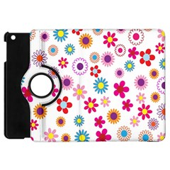 Colorful Floral Flowers Pattern Apple Ipad Mini Flip 360 Case by Simbadda