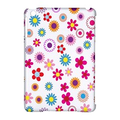 Colorful Floral Flowers Pattern Apple Ipad Mini Hardshell Case (compatible With Smart Cover) by Simbadda