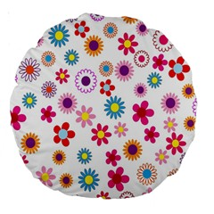 Colorful Floral Flowers Pattern Large 18  Premium Round Cushions by Simbadda