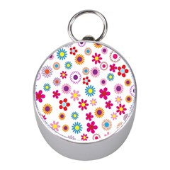Colorful Floral Flowers Pattern Mini Silver Compasses by Simbadda