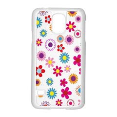Colorful Floral Flowers Pattern Samsung Galaxy S5 Case (white)