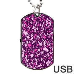Chic Camouflage Colorful Background Dog Tag Usb Flash (two Sides) by Simbadda