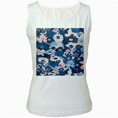 Fabric Wildflower Bluebird Women s White Tank Top