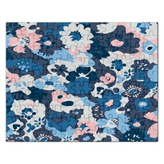 Fabric Wildflower Bluebird Rectangular Jigsaw Puzzl