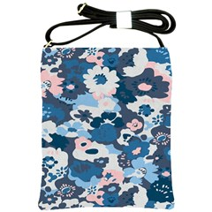 Fabric Wildflower Bluebird Shoulder Sling Bags by Simbadda