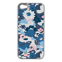 Fabric Wildflower Bluebird Apple Iphone 5 Case (silver)