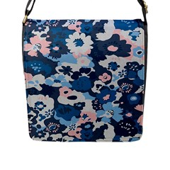 Fabric Wildflower Bluebird Flap Messenger Bag (l)