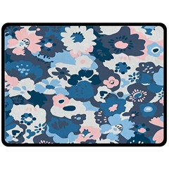 Fabric Wildflower Bluebird Double Sided Fleece Blanket (large)  by Simbadda