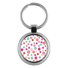 Colorful Floral Flowers Pattern Key Chains (round)