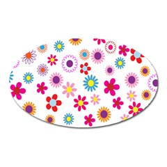 Colorful Floral Flowers Pattern Oval Magnet by Simbadda