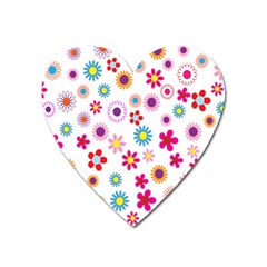Colorful Floral Flowers Pattern Heart Magnet by Simbadda