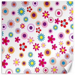 Colorful Floral Flowers Pattern Canvas 16  X 16   by Simbadda
