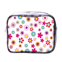 Colorful Floral Flowers Pattern Mini Toiletries Bags by Simbadda