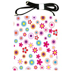 Colorful Floral Flowers Pattern Shoulder Sling Bags by Simbadda