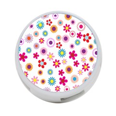 Colorful Floral Flowers Pattern 4 Port Usb Hub (one Side)