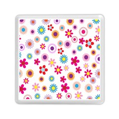 Colorful Floral Flowers Pattern Memory Card Reader (square)  by Simbadda