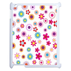 Colorful Floral Flowers Pattern Apple Ipad 2 Case (white) by Simbadda