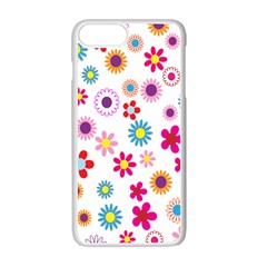 Colorful Floral Flowers Pattern Apple Iphone 7 Plus White Seamless Case by Simbadda