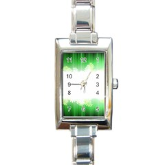 Green Floral Stripe Background Rectangle Italian Charm Watch by Simbadda