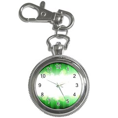 Green Floral Stripe Background Key Chain Watches by Simbadda