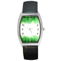 Green Floral Stripe Background Barrel Style Metal Watch by Simbadda