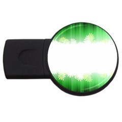 Green Floral Stripe Background Usb Flash Drive Round (4 Gb) by Simbadda