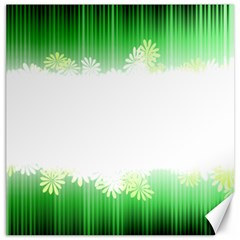 Green Floral Stripe Background Canvas 16  X 16   by Simbadda