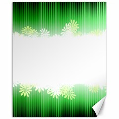 Green Floral Stripe Background Canvas 16  X 20