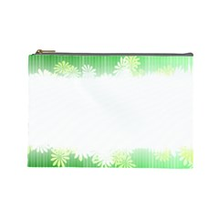 Green Floral Stripe Background Cosmetic Bag (large)  by Simbadda