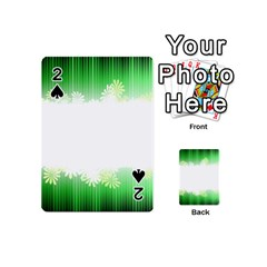 Green Floral Stripe Background Playing Cards 54 (mini)  by Simbadda