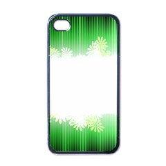 Green Floral Stripe Background Apple Iphone 4 Case (black)