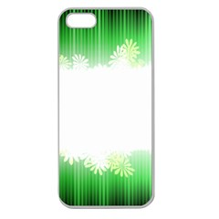 Green Floral Stripe Background Apple Seamless Iphone 5 Case (clear) by Simbadda