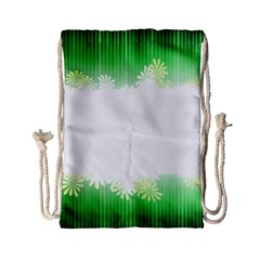 Green Floral Stripe Background Drawstring Bag (small) by Simbadda
