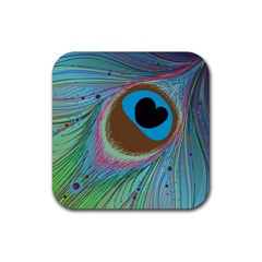 Peacock Feather Lines Background Rubber Square Coaster (4 Pack)