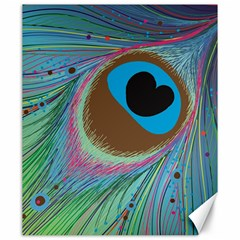 Peacock Feather Lines Background Canvas 20  X 24   by Simbadda