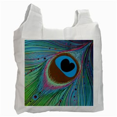 Peacock Feather Lines Background Recycle Bag (one Side) by Simbadda
